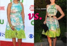 Who rocked it hotter: Gayle King vs. Dianna Agron in a Tracy Reese for Anthropologie Made in Kind Revisited Impressionist dress