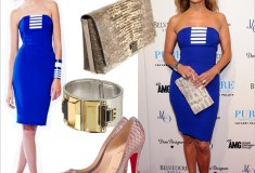 Get her haute look: Jennifer Lopez in an Edition by Georges Chakra dress and Christian Louboutin Lady Peep 150 pumps