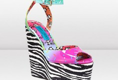 Jimmy Choo and Rob Pruitt SPRINKLE Confetti Patent and Zebra Glitter Leather Wedges