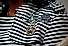 My style: Stripes & checks (LOFT Corded Dobby Striped Trench + Jolt Reversible Houndstooth-Print Skinny Jeans)