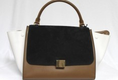 Haute buy: Celine Tricolor Suede & Leather Small Trapeze Luggage Bag