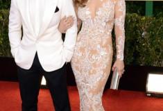 Jennifer Lopez and Casper Smart at the 70th Annual Golden Globe Awards
