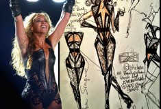 What She Wore: Beyonce in a Rubin Singer black lace, iguana and python bodysuit at the 2013 Super Bowl