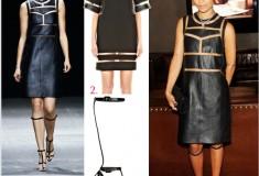 Get her haute look: Zoe Kravitz in Alexander Wang's Onyx Crewneck Dress, Tri-Fold Clutch & Aline High T-Strap Sandals