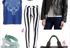 My style: Burglar stripes & Blues (Pierre Balmain tee + Hybrid striped jeans + Alexander Wang Rocco duffel + Skin Ark Bar pumps)
