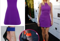 Haute or not? Gwyneth Paltrow in a Victoria Beckham silk and wool-blend mini dress & Michael Kors orange and black ankle strap sandals