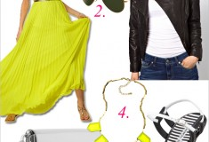 My style: Neon & leather (Leather moto jacket + Victoria's Secret pleated maxi dress + Bottega Veneta sandals)