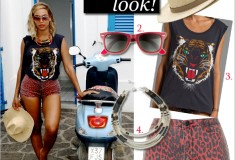 Get her haute look: Beyonce wearing Lovers + Friends Wildcat tee & Topshop Moto red leopard shorts