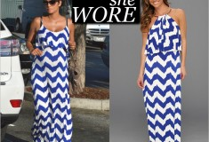 Celebrity style: Halle Berry in a Tbags Los Angeles Chevron-Print Maxi Dress