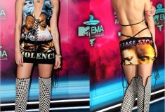 Haute or Not: Miley Cyrus at the EMAs in a New York Vintage dress ft. Biggie & Tupac