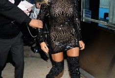 What She Wore: Beyonce in Tom Ford Spring/Summer 2014 black mosaic mini dress and matching thigh high boots