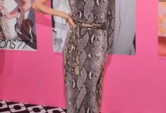 Coco Rocha in a DVF One Shoulder Wrap Dress