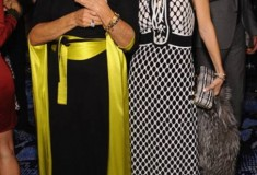 Diane von Furstenberg in a DVF Wrap Dress and Alexandra von Furstenberg in a DVF Dress and Tonda Clutch