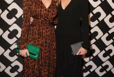 Dylan Penn in a vintage DVF Wrap Dress and 440 Envelope Clutch & Robin Wright in a DVF Wrap Dress