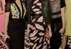 Nathalie Love in a DVF Wrap Dress, Laura Love in a DVF Wrap Dress, Flirty Minaudiere Clutch and Rowan Heels & Lisa Love in a DVF Resort '14 Top and Pants