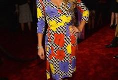 Paris Hilton in a DVF Pop Wrap Dress