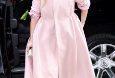 Jennifer Lopez in a blush wool coat from REEM ACRA Fall 2014 collection