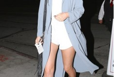 Kylie Jenner ASOS in a pastel blue duster coat