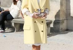 Miroslava Duma in a pastel yellow coat