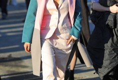 Solange in a pastel multicolor coat