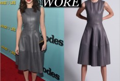 Get the Look: Emmy Rossum's Grey Leather Dress