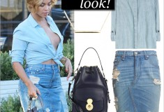 Beyonce Goes Braless in Blue Chambray and Shredded Denim