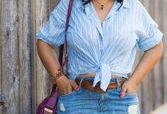 12 Ways to Wear Denim: Distressed Denim Skirts