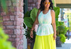 #TBT: Neon Pleated Maxidress