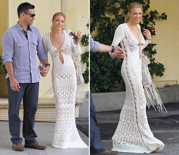Leann Rimes Wedding Dress Emilio Pucci Cutout Crocheted Gown